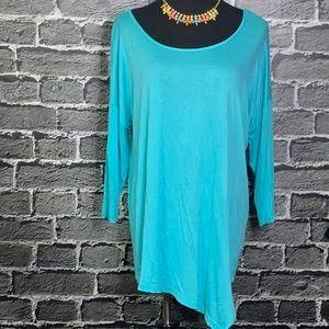 NWT Bobeau Turquoise Asymmetrical Rayon Tunic M